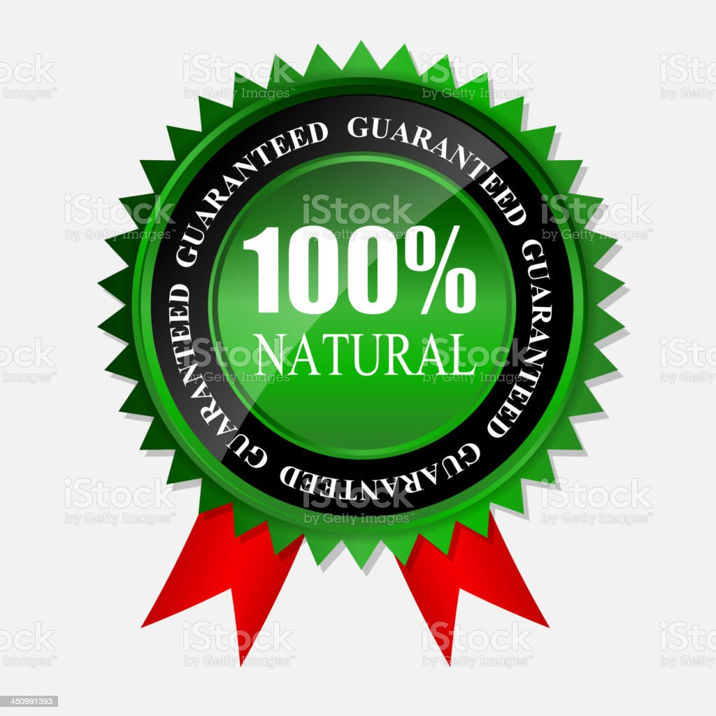 100% natural green label isolated on white.vector illustration royalty-free stock vector art