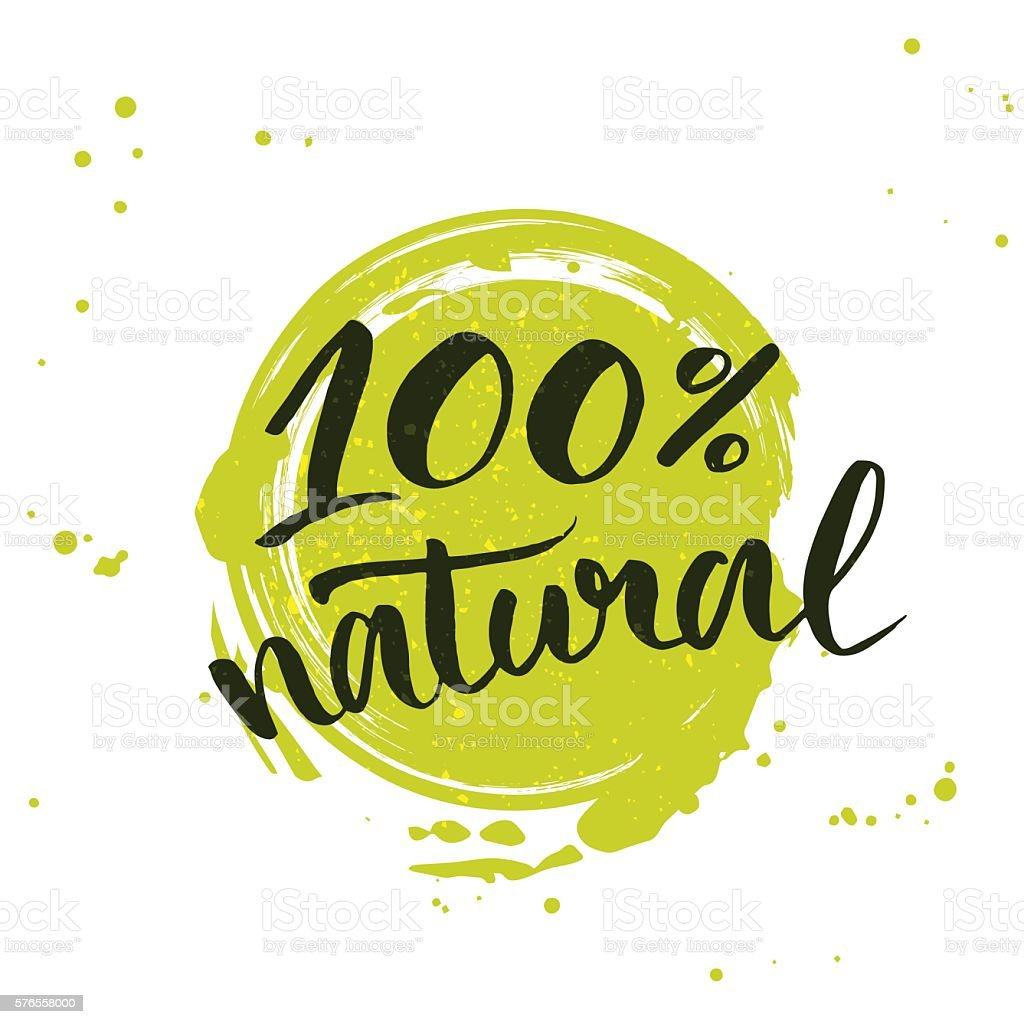 100% natural green lettering sticker vector art illustration