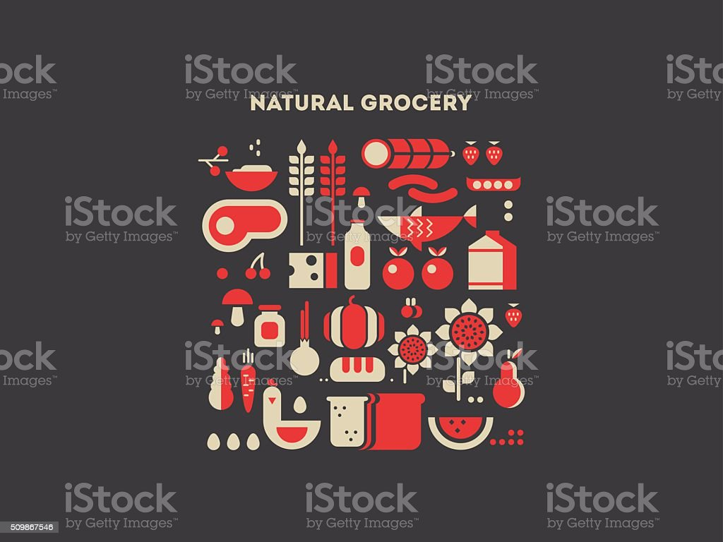 Natural grocery food vector art illustration