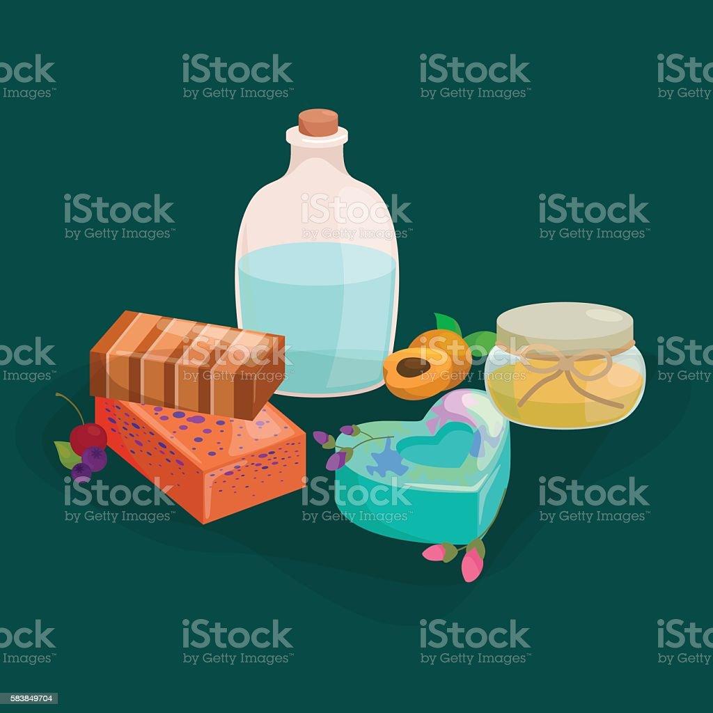 Natural Handmade Soap and Olives vector illustration vector art illustration
