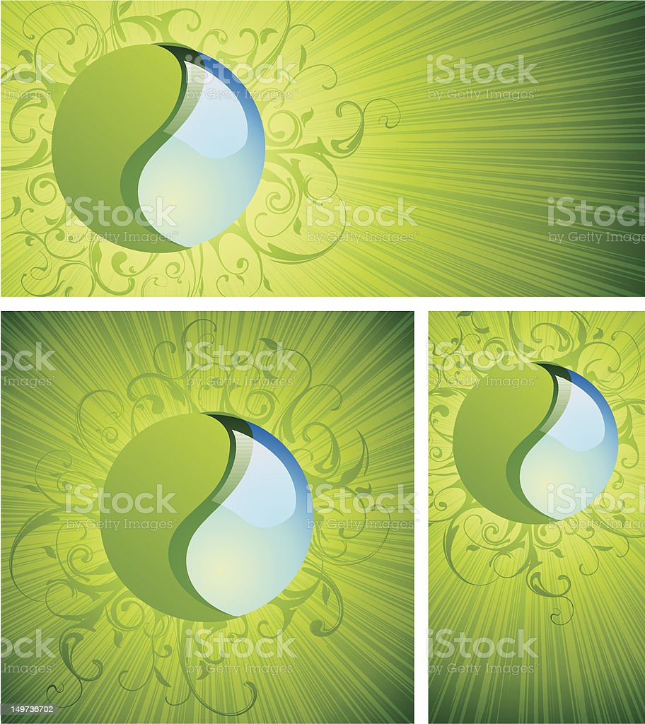 Natural Harmony Symbols On Green Sunburst Backgrounds royalty-free stock vector art