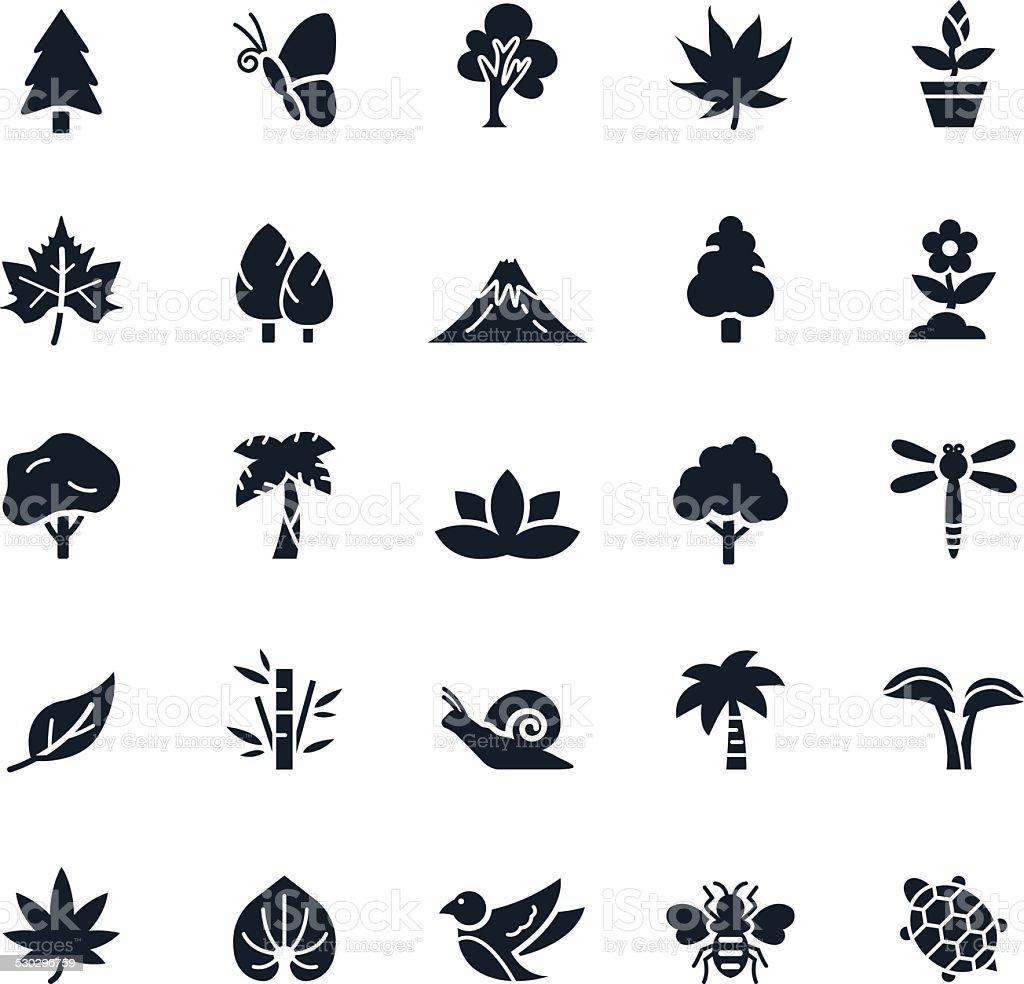 Natural Icons Vector Illustration vector art illustration