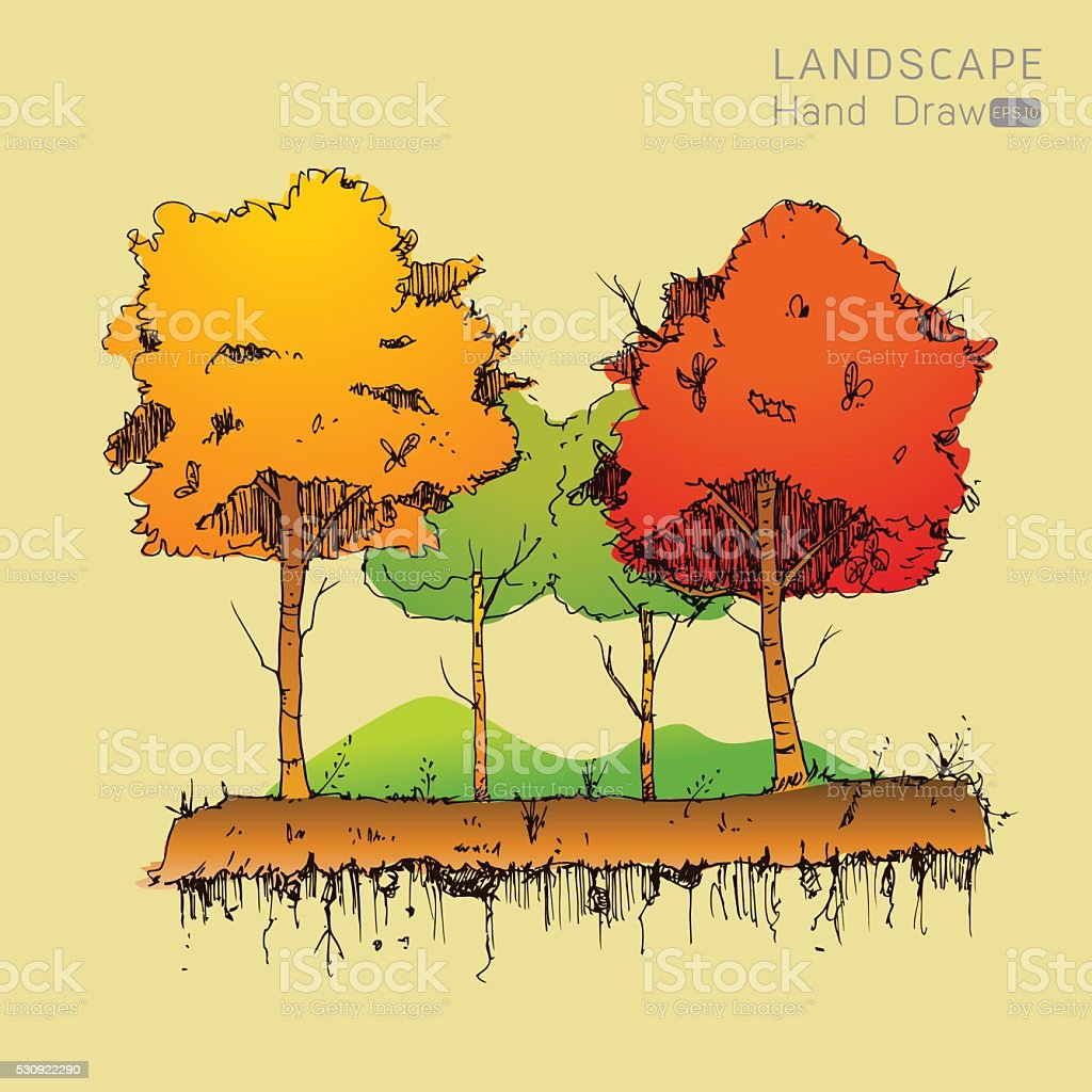 Natural landscape in Hand drawn style vector art illustration