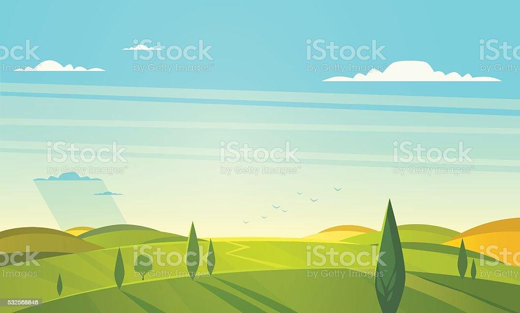 Natural landscape. Vector illustration. vector art illustration