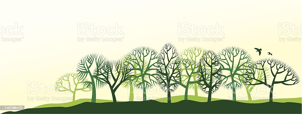 natural landscape with trees vector art illustration