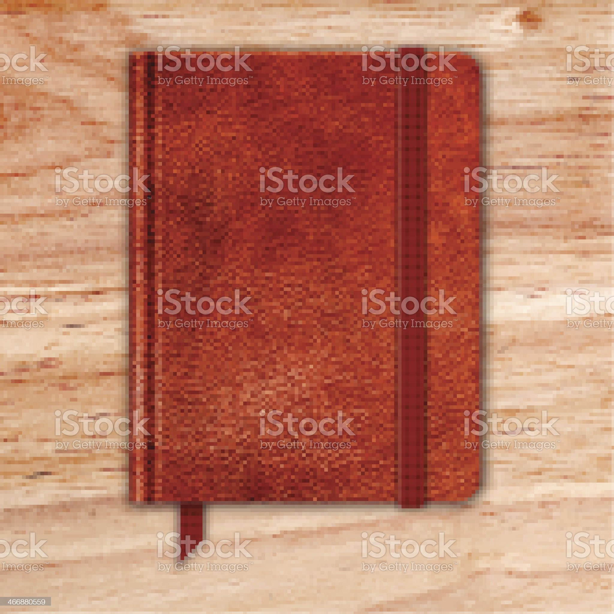 Natural Leather Notebook On A Wooden Desk. Copybook With Band royalty-free stock vector art