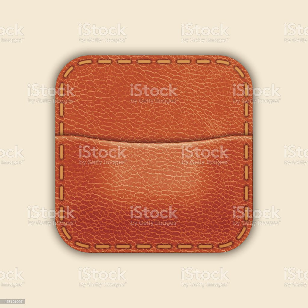Natural Leather Pocket Or Wallet. App Icon Template. Vector royalty-free stock vector art