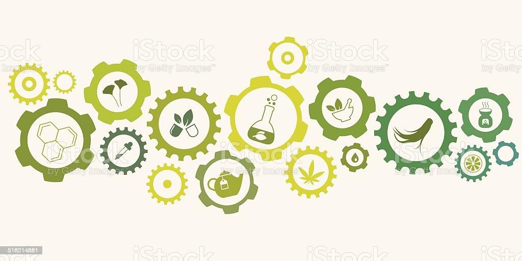 Natural Medicine Gear Concept vector art illustration