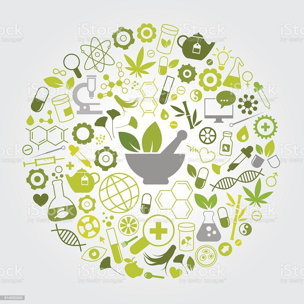 Natural Medicine vector art illustration