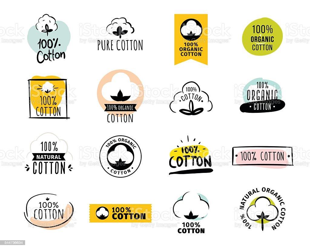 Natural organic cotton vector labels vector art illustration