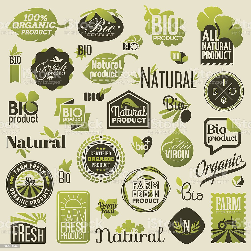 Natural organic product labels, emblems and badges vector art illustration
