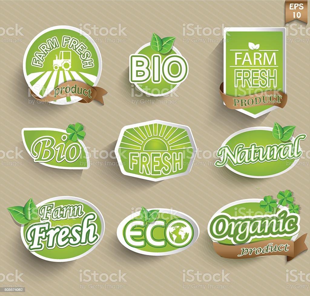 Natural organic product labels, emblems and badges. vector art illustration