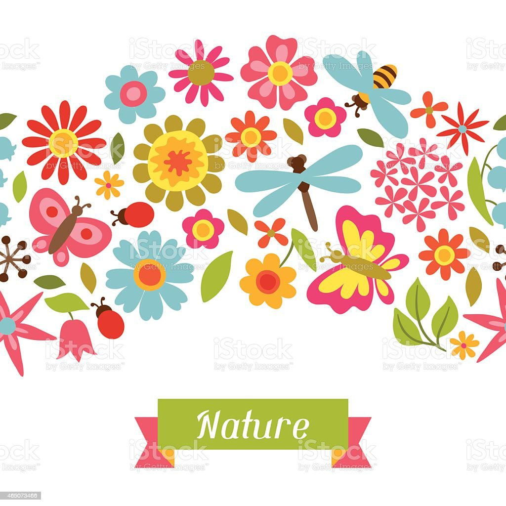 Natural pattern with beautiful flowers, beetles and butterflies vector art illustration