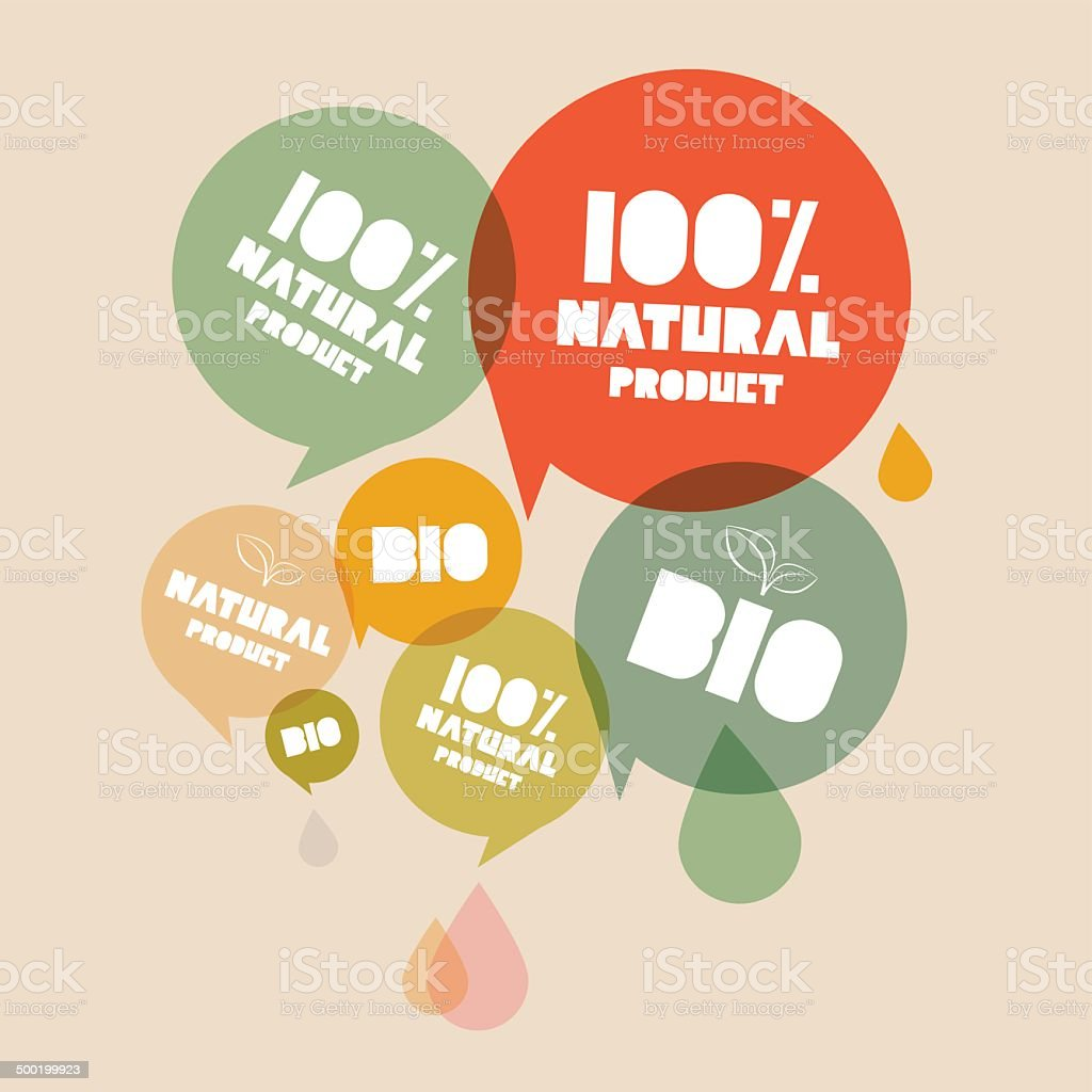 Natural Product Bio Green Labels Set vector art illustration