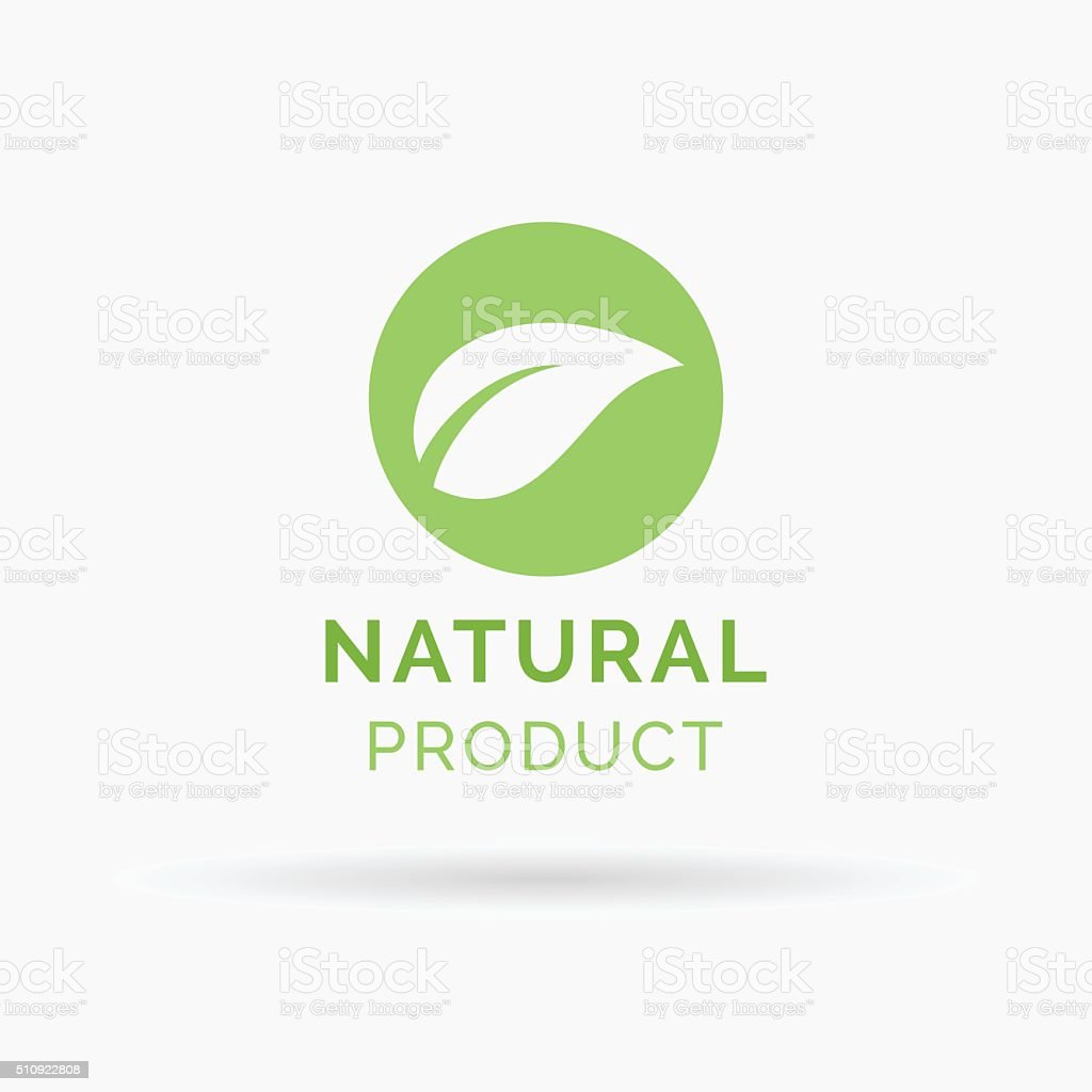 100% natural product icon design vector symbol vector art illustration