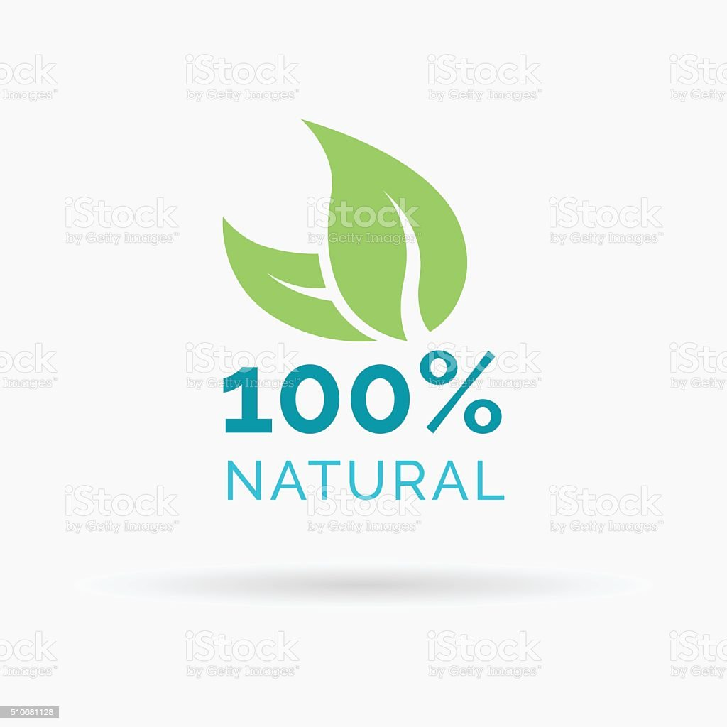 100% natural product symbol design with green leaf icon vector art illustration
