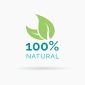 100% natural product symbol design with green leaf icon