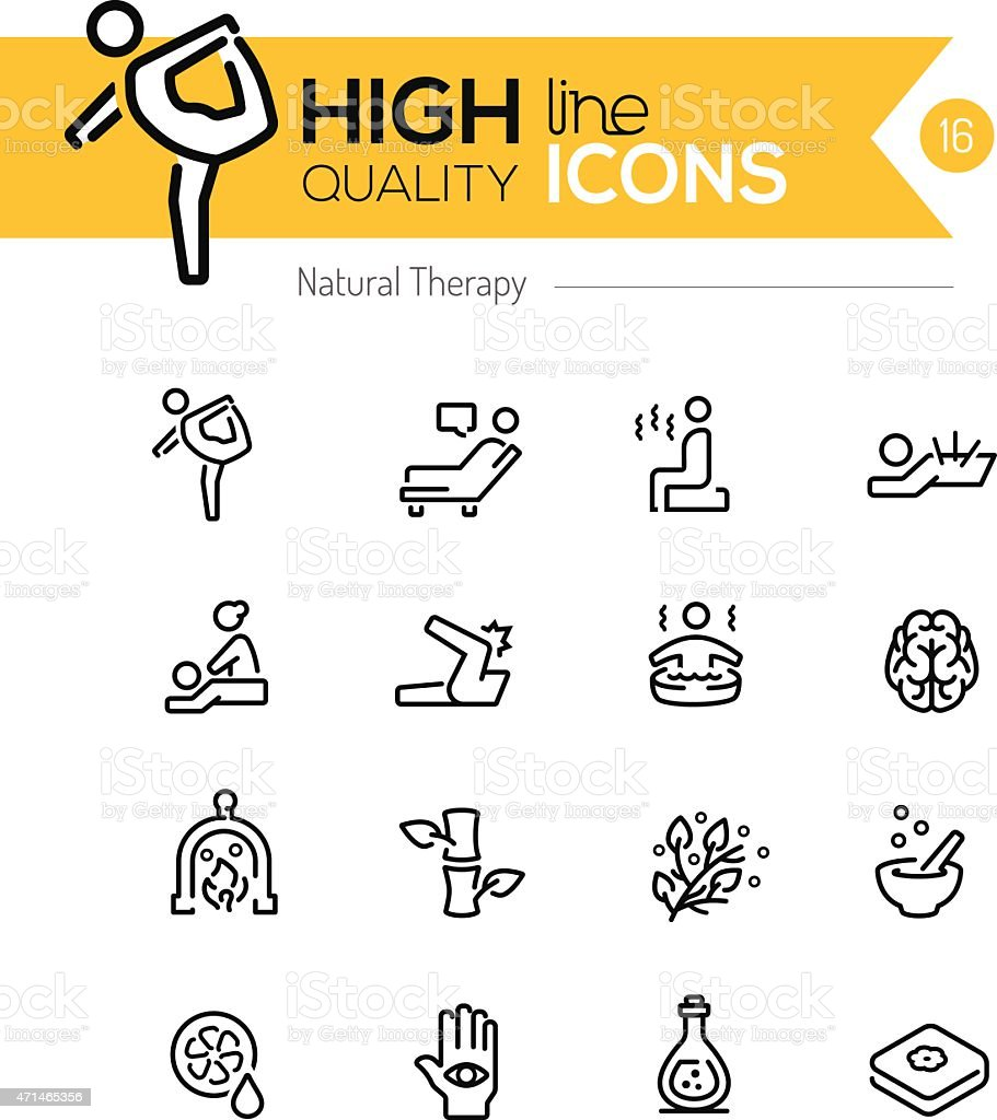 Natural Therapy line icons series vector art illustration