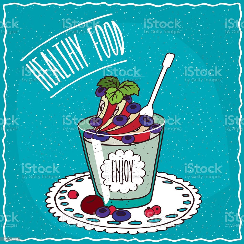 Natural yogurt with apple and blueberry vector art illustration