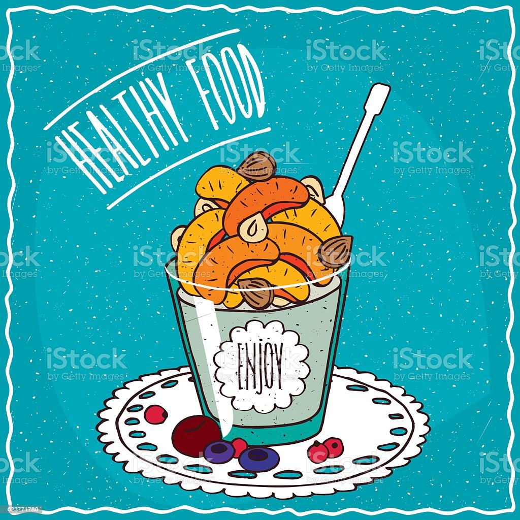 Natural yogurt with dried apricots and nuts vector art illustration