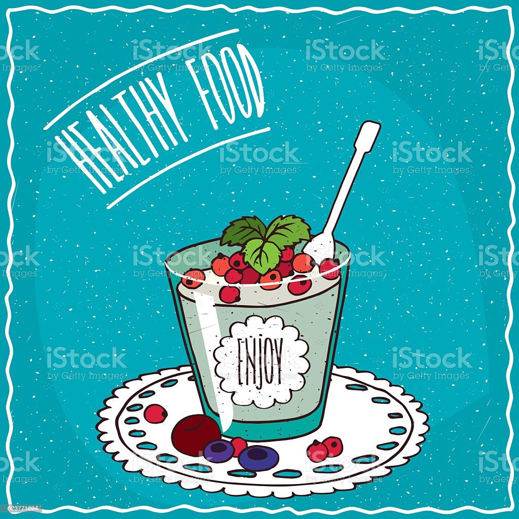 Natural yogurt with red currant vector art illustration