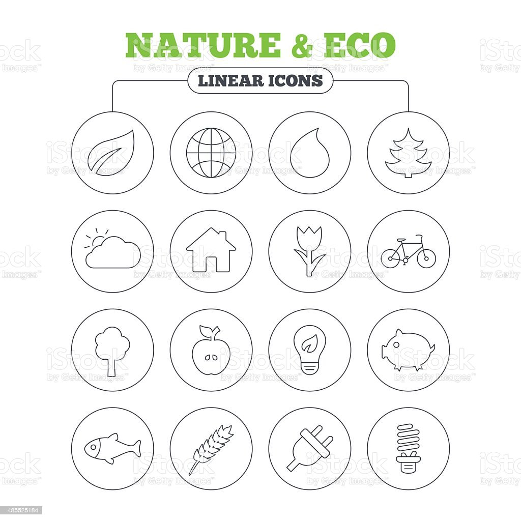 Nature and Eco icons. Trees, rose flower vector art illustration