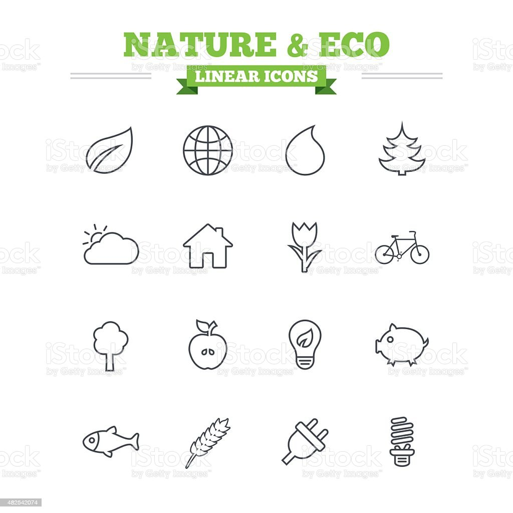 Nature and Eco linear icons set. Thin outline signs. Vector vector art illustration