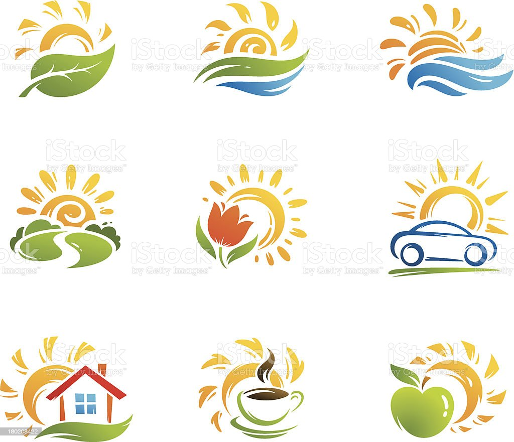 Nature and ecology icons vector art illustration