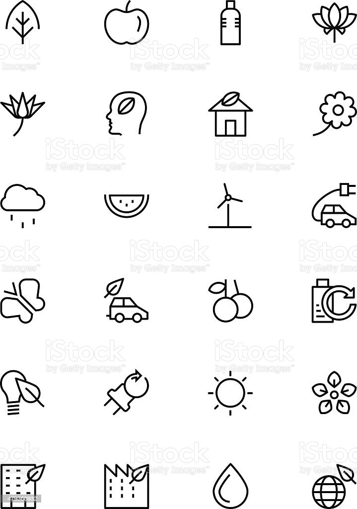 Nature and Ecology Line Vector Icons 1 vector art illustration