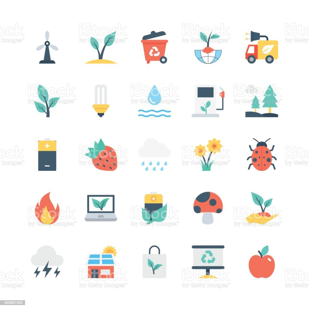 Nature and Ecology Vector Icons 4 vector art illustration
