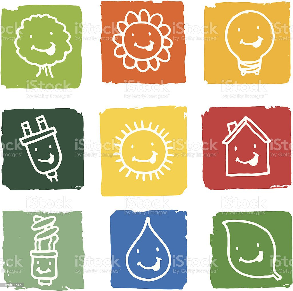 Nature and energy grunge block icons royalty-free stock vector art