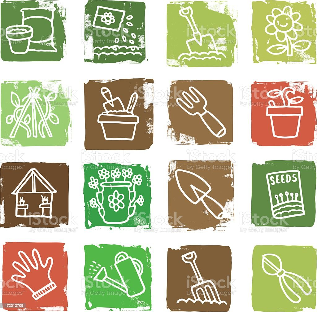 Nature and gardening grunge icon blocks royalty-free stock vector art