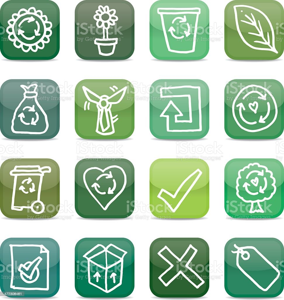 Nature and recycling app style icons royalty-free stock vector art