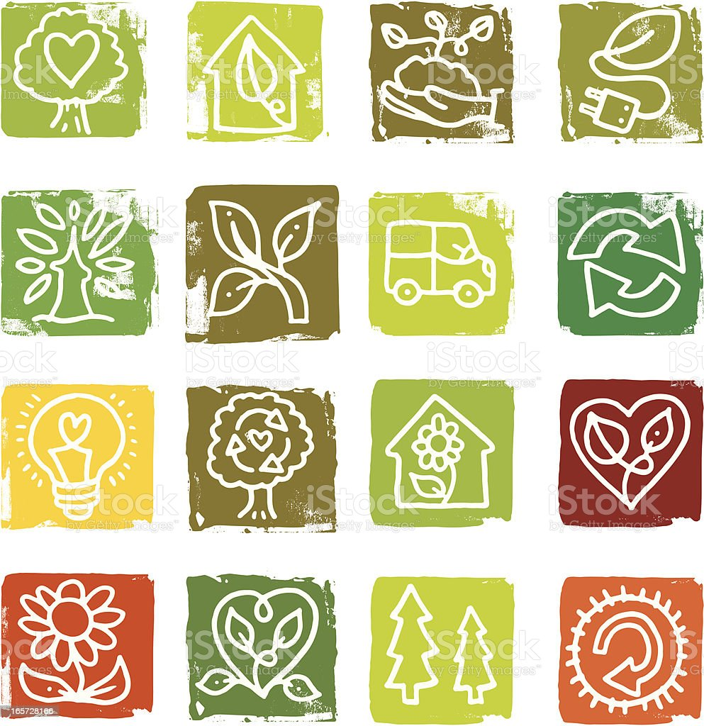 Nature and recycling block icons royalty-free stock vector art