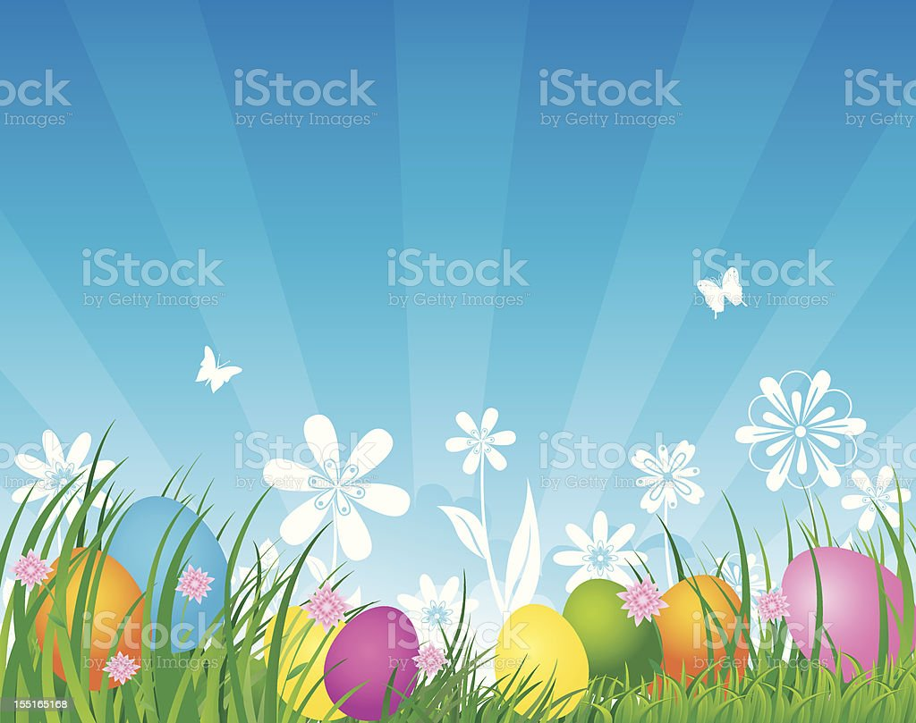Nature background with eggs vector art illustration