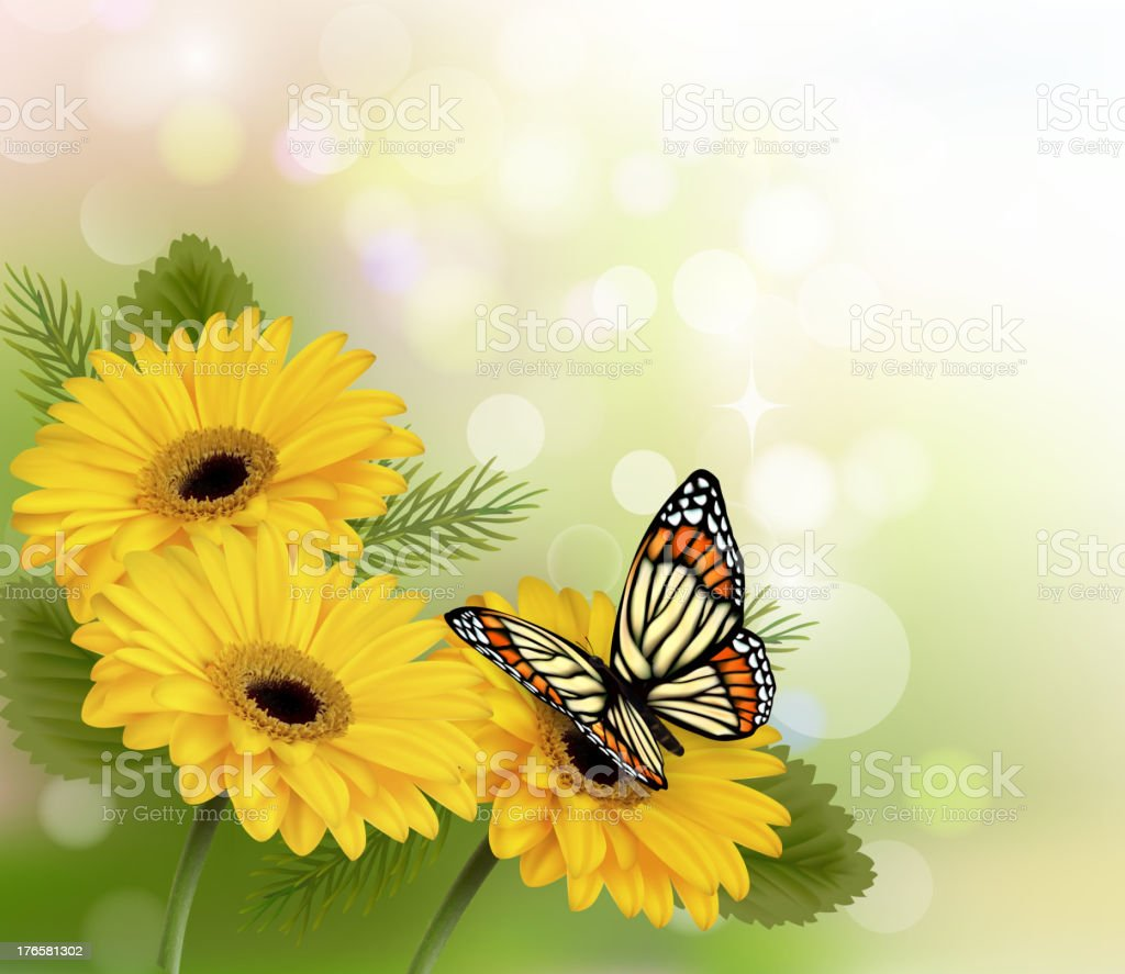 Nature background with yellow beautiful flowers royalty-free stock vector art