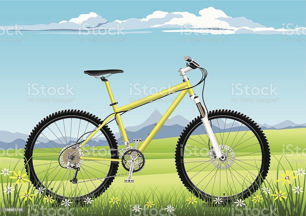 Nature Bike Vacations vector art illustration