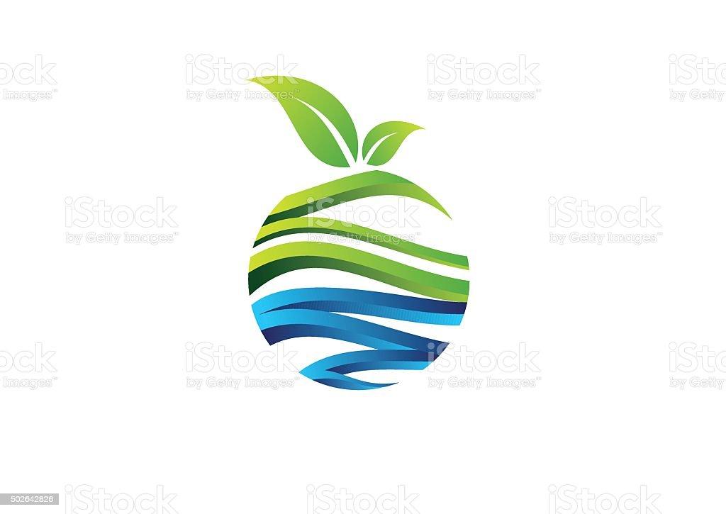 nature circle plant concept logo fruit symbol icon vector design vector art illustration
