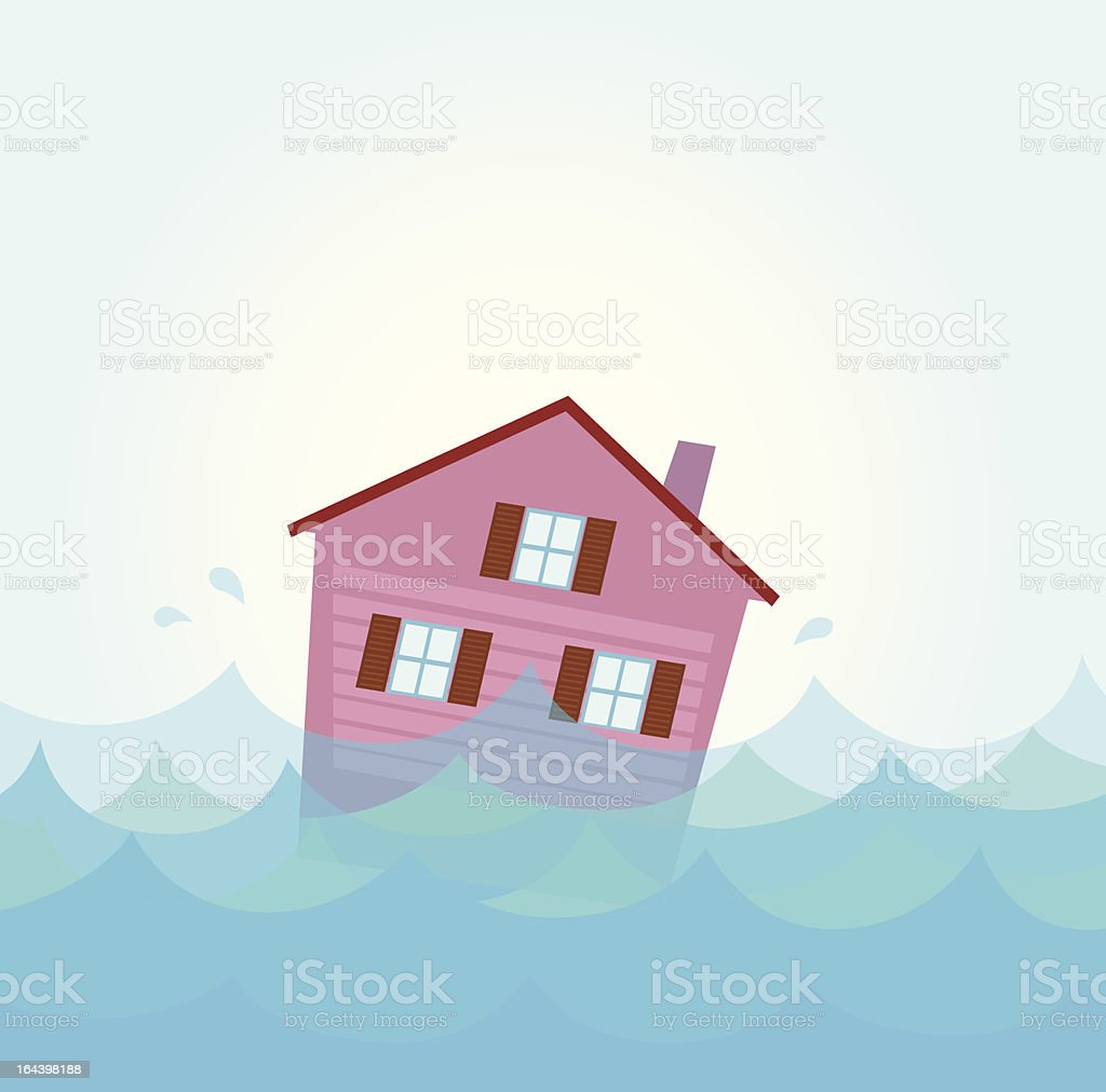 Nature disaster: House flood - home flooding under water royalty-free stock vector art