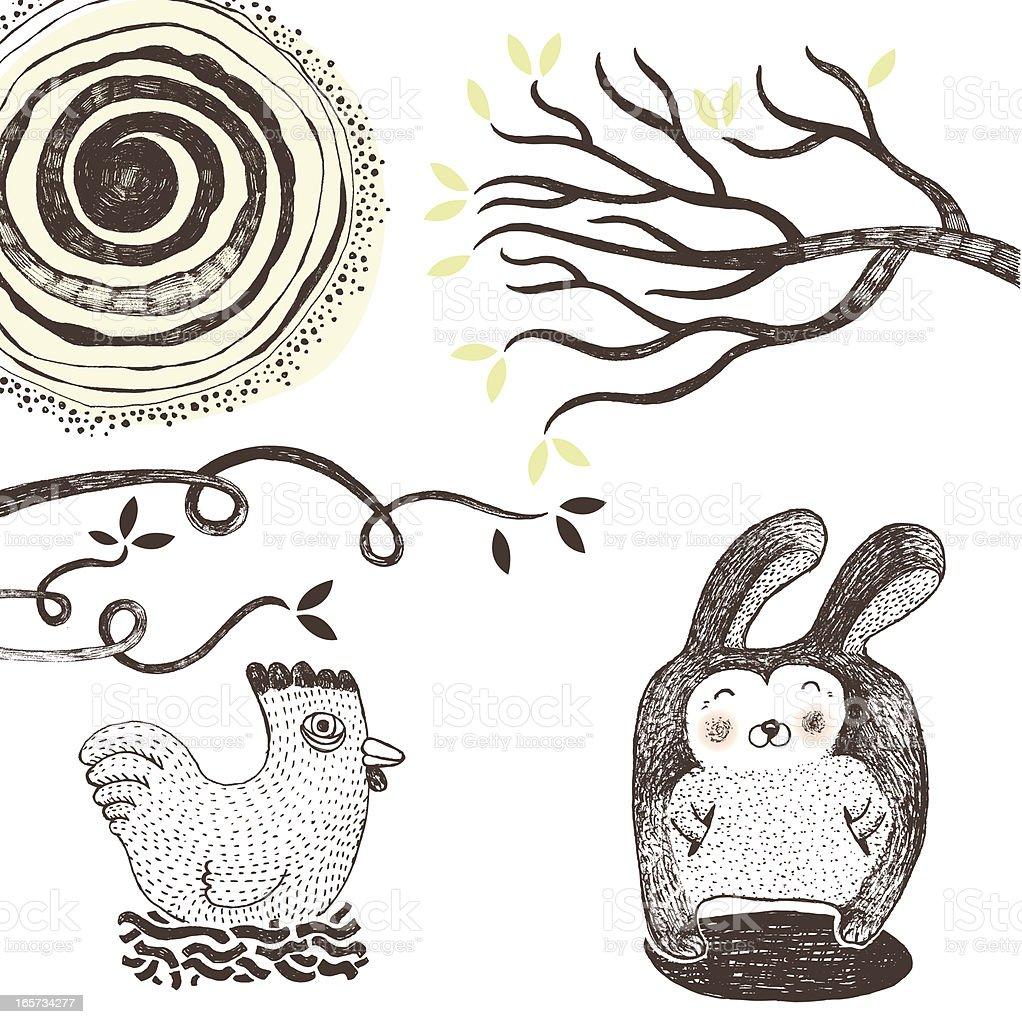 Nature doodle vector art illustration