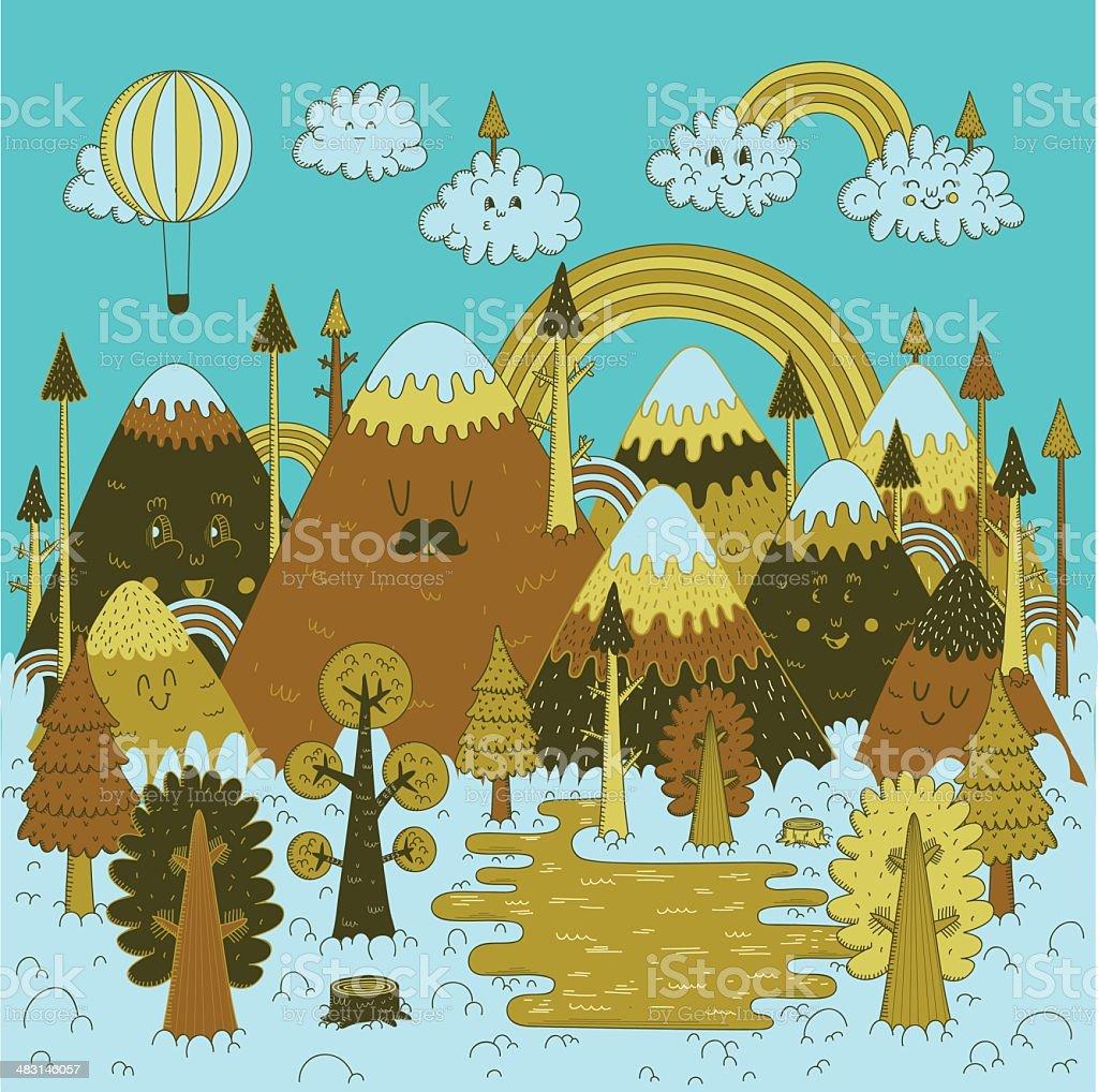 Nature doodles vector art illustration