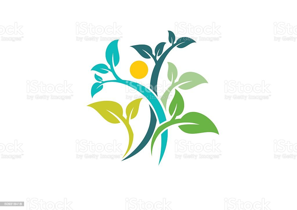 nature ecology logo, health people wellness symbol icon vector design vector art illustration