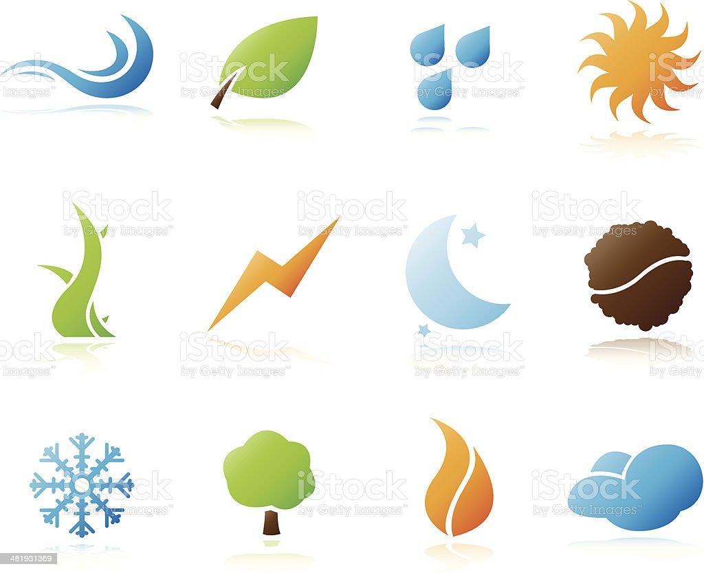 Nature elements icons royalty-free stock vector art