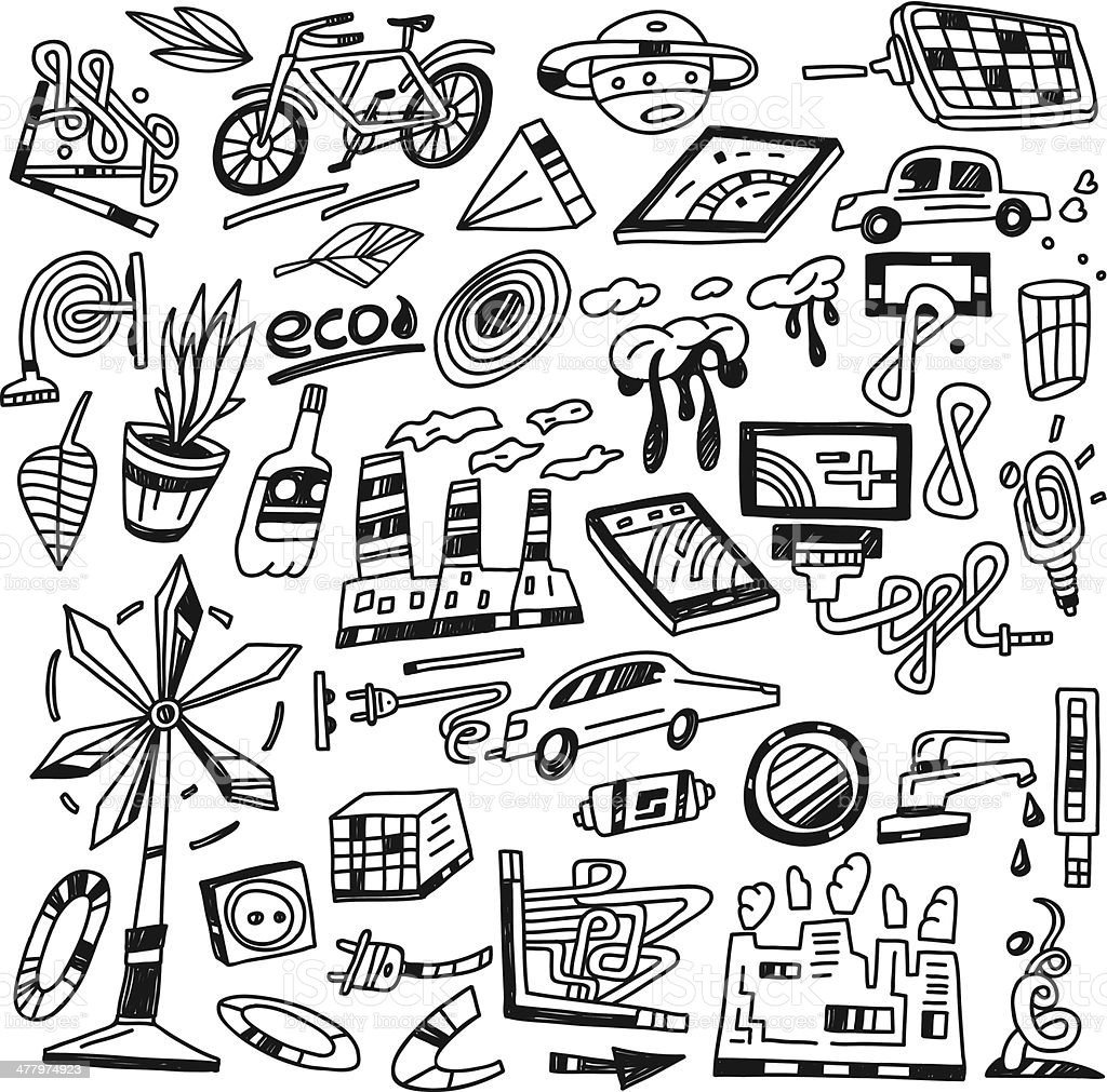 nature energy , ecology doodles royalty-free stock vector art
