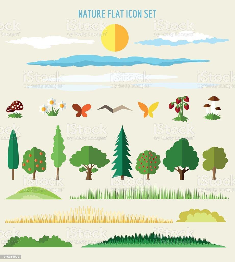 Nature flat icons vector art illustration