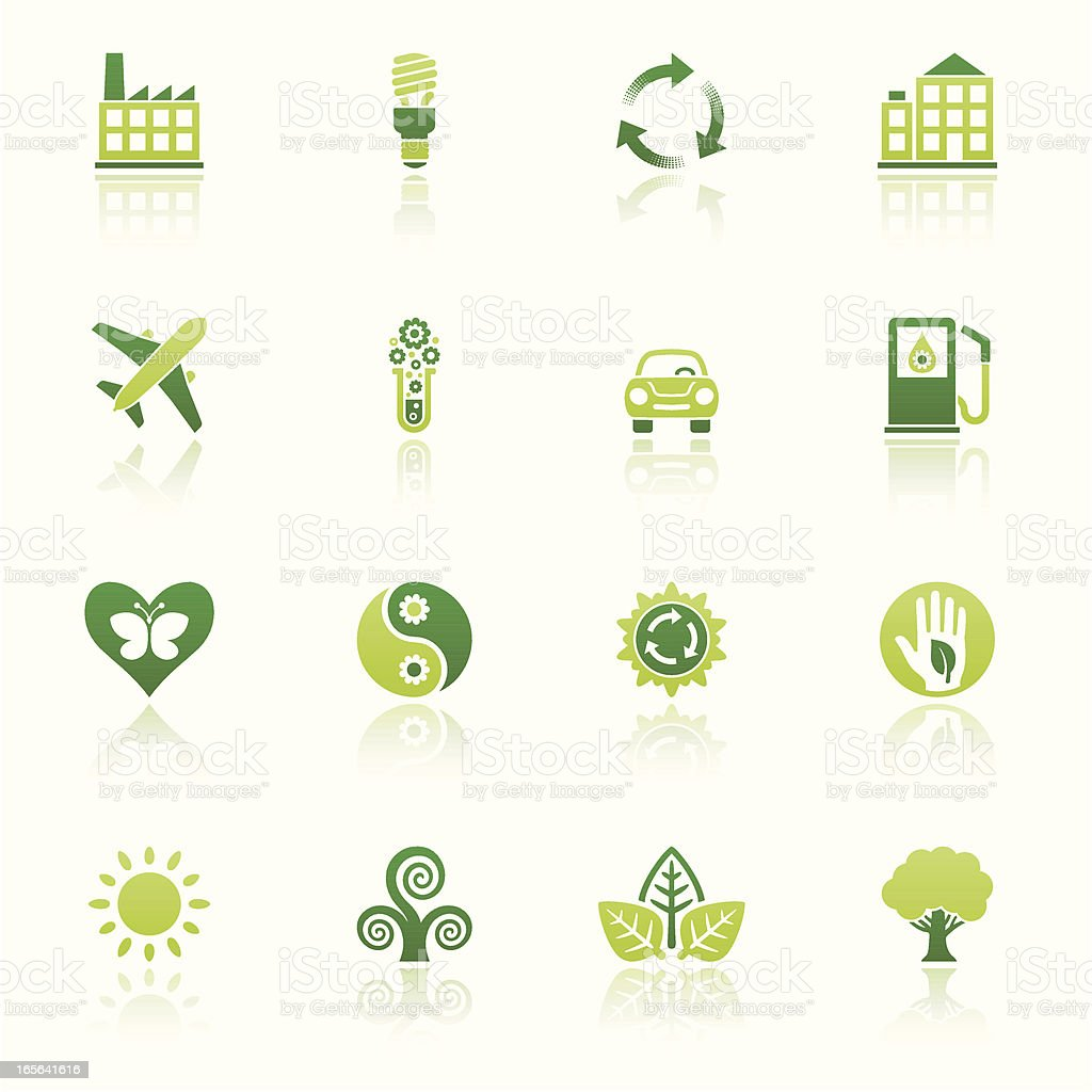 nature friendly icon set eco reflection II royalty-free stock vector art