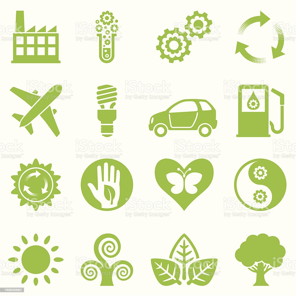 nature friendly icon set green II royalty-free stock vector art