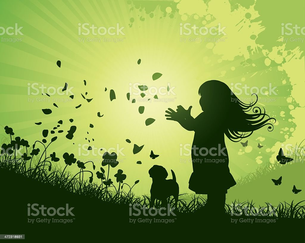 Nature Girl with Flowers royalty-free stock vector art