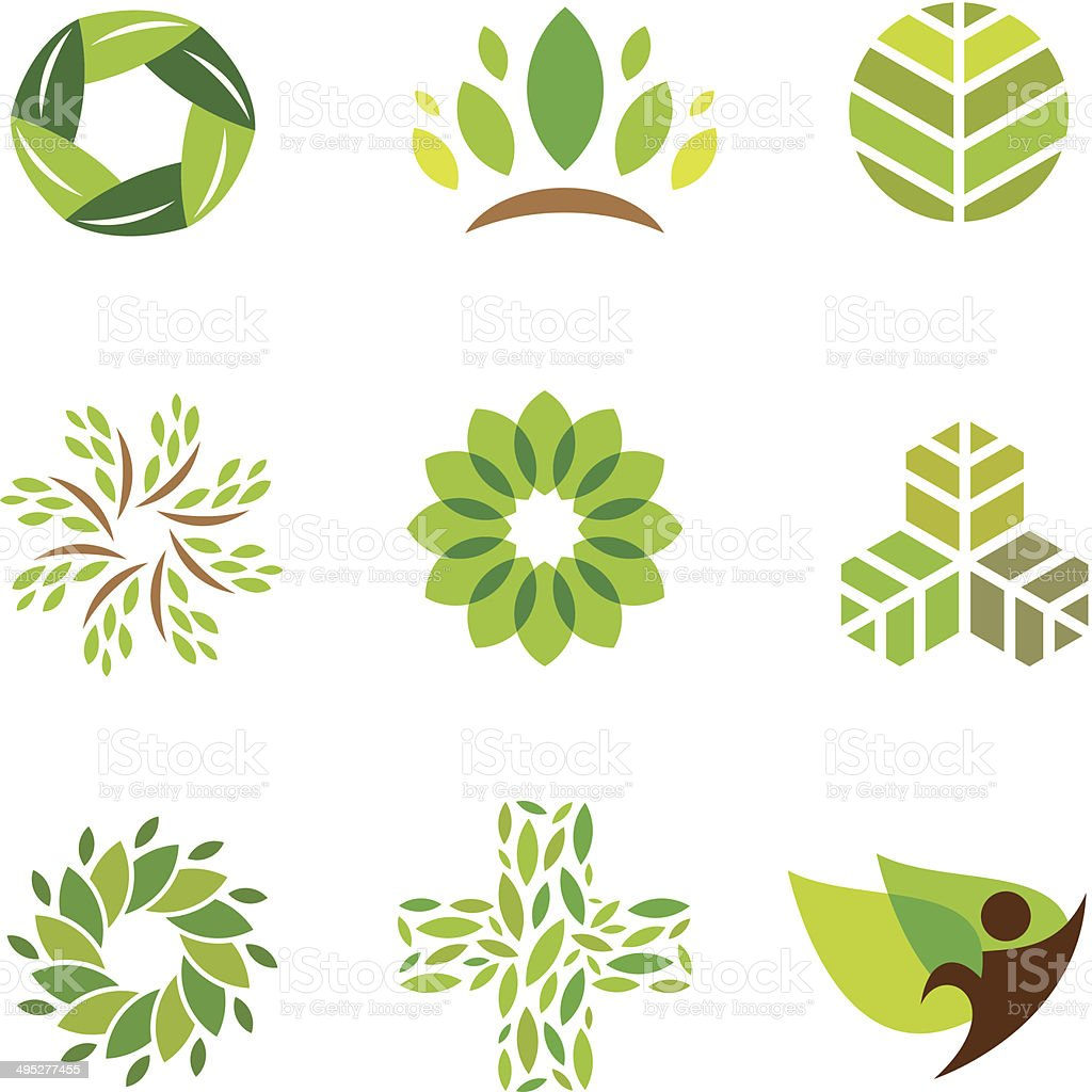 Nature green eco help care for healthy life logo icon vector art illustration