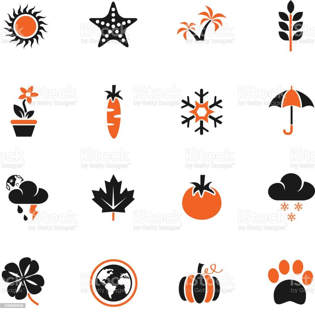 nature icon set vector art illustration